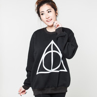Deathly Hallows Sweater Harry Potter Spells Movie Black Jumper T-Shirt Tshirt Long Sleeved Shirts Women Sweatshirt Unisex Tee Size S M L