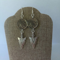 Buffalo Indian head coin earrings, arrow earrings, Native dangle earrings, tribal, Nickel coin earrings, Vintage coins, Coin jewelry