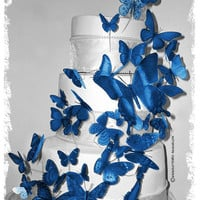 Royal Blue 3D Butterflies in Horizon Royal / Blue / Cornflower / or DAVID'S BRIDAL Color Butterfly Cake Topper Weddings Decoration 46x