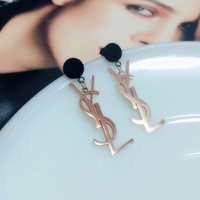 YSL Women Fashion English Letter Pendant Titanium Steel Earrings Jewelry