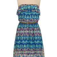 belted high-low printed ruffle tube dress