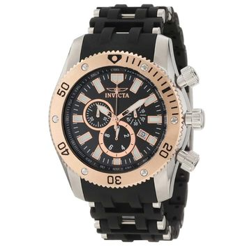 Invicta 10246 Men's Sea Spider Stainless Steel & Rubber Bracelet Black Dial Chronograph Watch