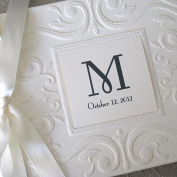 Monogram Wedding Guest Book or Photo Album Vintage inspired in Ivory or White Personalized