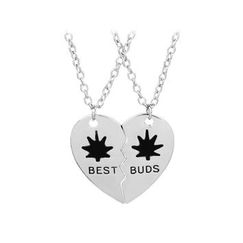 10Pcs / Lot Best Buds Necklaces for 2 Black Enamel Heart Best Friend Necklace Friendship Birthday Gift for Bestfriends Jewelry