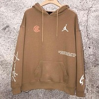 Air Jordan &Clot Autumn And Winter New Fashion Letter Pattern Print Couple Hooded Long Sleeve Sweater Top Khaki