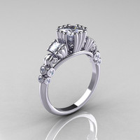 Classic 10K White Gold 1.25 CT Princess White Sapphire Diamond Three Stone Engagement Ring R171-10KWGDWS