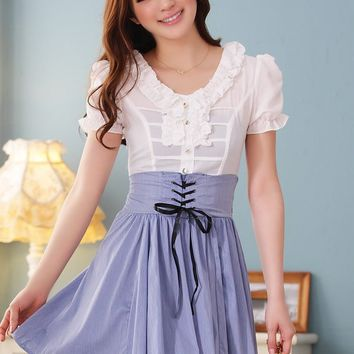 Women Chiffon And Cotton V-Neck Short Sleeve Pleating Fitting White Dress  M/L@MF3415w