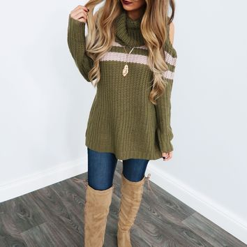 Let's Snuggle Sweater: Olive/Beige