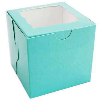 Aqua Window Single Cupcake Box