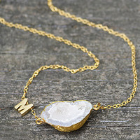 Personalized Natural Free Shape White Druzy Gemstone Vermeil Gold necklace - Bridesmaid necklace, Weeding Jewelry, initial letter charm