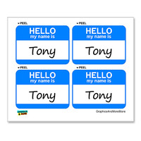 Tony Hello My Name Is - Sheet of 4 Stickers