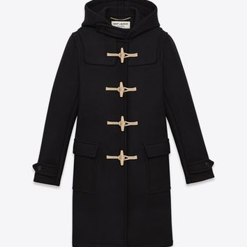 duffle coat in black wool