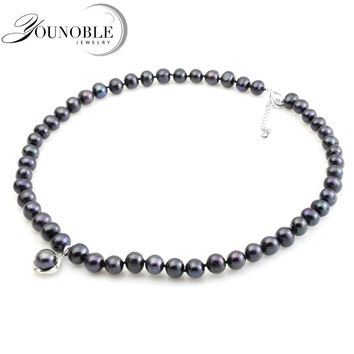 YouNoble real black freshwater pearl necklace for women,pearl choker necklace bridal girl mother best friends birthday gift