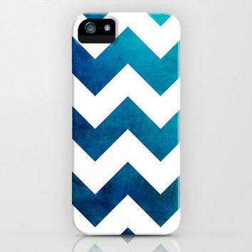 Geometric Phone Case - Tribal Teal Blue Chevron Watercolor - iPhone 5C 5S 4S Case - Samsung Galaxy S5 S4 S3 Case