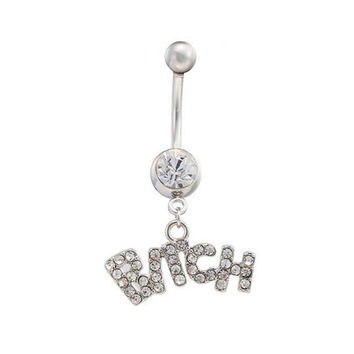 1Piece Ball Screw Back Letter CZ Diamond Women Piercing Belly Button Rings Surgical Steel Men Punk Navel Body Jewelry