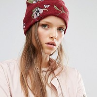 River Island Floral Embroidered Beanie Hat at asos.com