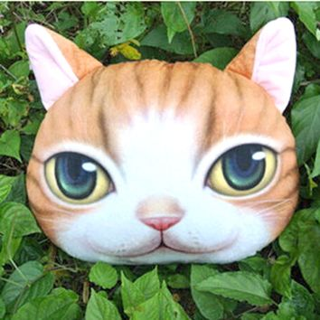 Orange Tabby Kitty Cat Face Shaped Soft Fabric Cushion Pillow