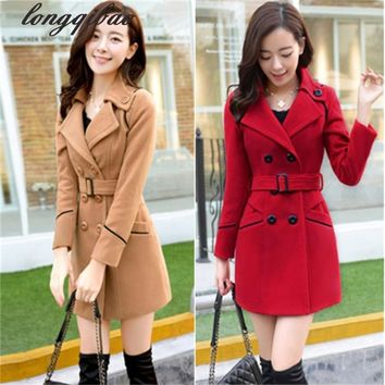 2017 New Spring Woolen Coat Trench Women Slim Double Breasted Black Winter Coats Long Outerwear for Women TB7667