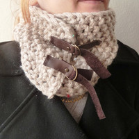 Knitted Beige  Cowl with Glitter beadsNeckwarmer by buggarenovated