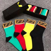 FENDI Fashion Women Men Comfortable Breathable Pure Cotton Sport Socks