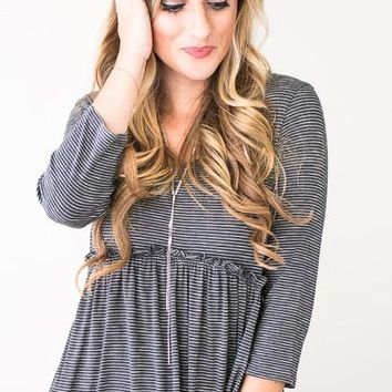 My Grey Heaven Stripe Babydoll Top