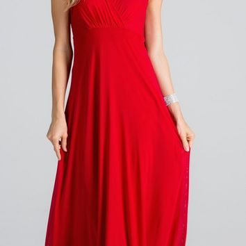 Empire Waist V-Neck Long Semi Formal Dress Cut Out Back Red