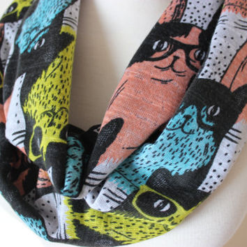 Cat Scarf, Animal Print Infinity Scarf, Cat with Eye Glasses, Scarf, Cats Scarf Kitty Scarf, Cat, Kitty, Cats, Cat Print Scarf, Gift For Her