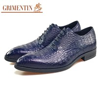 Men Dress Shoes Blue Genuine Leather  Formal Business Shoes