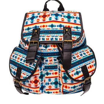 Creative Women's Canvas Aztec Ethnic Backpack Sports Daypack Travel Bag