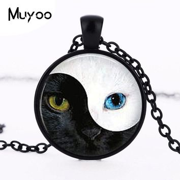 Alice In Wonderland Vintage Ying Yang  Eye glass pendant  necklace personality Art picture necklace women men jewelry HZ1