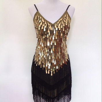 Stage Clothing Latin Dance Dresses Full Sequined Tassels