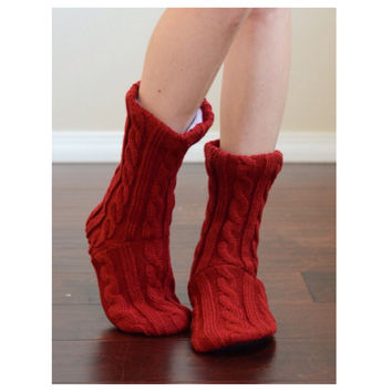Cute Cozy and Snuggly Cable Knit Red Slipper Socks