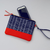 Small clutch, Navy wristlet, navy blue clutch, everyday clutch, navy coral clutch, small handbag, blue handbag, purse, leather clutch