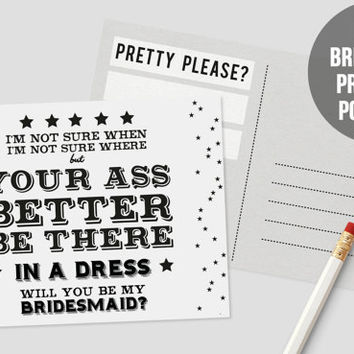 Be My Bridesmaid Postcard | DIY Wedding | Wedding Printable | PDF Download | Bridesmaid Proposal | Ask Bridesmaid | Maid of Honor