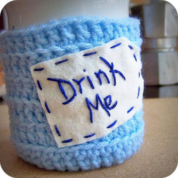 Drink Me funny coffee mug cozy sky blue white crochet handmade cover