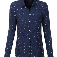 LE3NO Womens Loose Fit Polka Dot Print Long Sleeve Button Down Shirt with Pockets