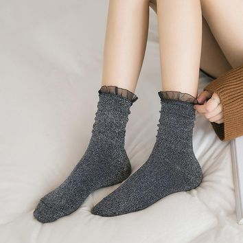 Fashion Long Socks Cotton Solid Glitter Socks Women Ladies Socks With Lace harajuku Socks Funny Cute High Autumn Winter
