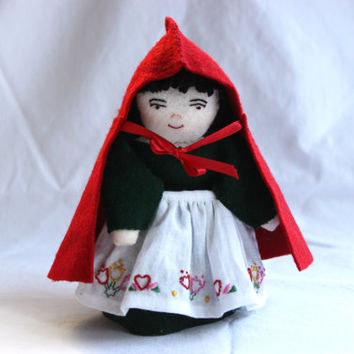 Little Red Riding Hood Doll, Hand Made Doll, Handmade Felt Doll, Little Red