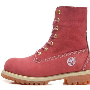 hcxx Timberland Rhubarb Boots 10061 High Tops Shoes Pink Waterproof Martin Boots