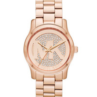 Michael Kors Rose Golden Stainless Steel Logo Three-Hand Glitz Watch