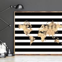 PRINTABLE Art,WORLD MAP,Poster,Office Decor,Gold Foil,Black And Gold,World Map Wall Art,Map Art,Map Print,Gold Map,Digital Print,Instant