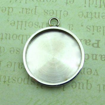 Stainless Steel Pendant Tray, Stampable Blank - Bezel Setting 304 Stainless Steel Bezel Pendant, 18mm Round Bezel For Resin 20x24x3mm  (051)