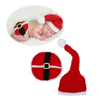 Cute Infant Kids Christmas Hat Handmade Warm Soft Knitted Newborn Phography Costume