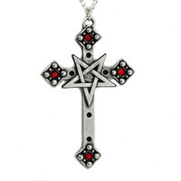 Cross Inverted Pentagram Necklace Black Metal Satan Evil
