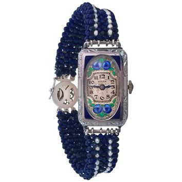 Art Nouveau Styled Watch-Face with Lapis Lazuli and Pearl Band by Marina J