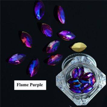 1Box 10pcs Colorful 3D Flame Horse Eyes Design Glass Rhinestones For Nails Charms DIY Manicure Nail Art Studs Decorations LA466