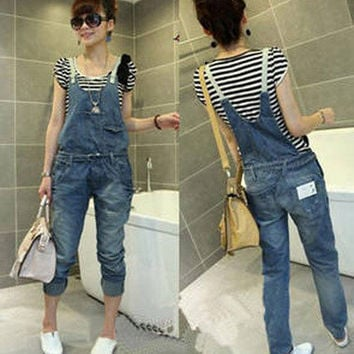Fashion Casual  Women's Frayed Denim Overall Strap Jeans Jumpsuits Rompers
