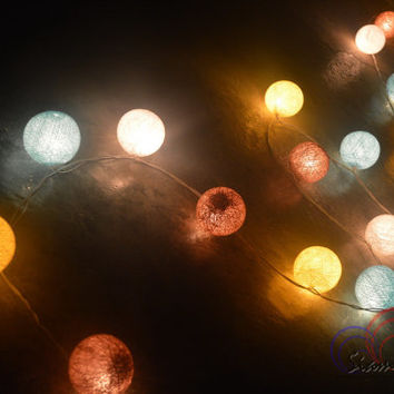 Pastel Lights Christmas Garland Lights Cotton Balls Hanging Fairy Lights Patio Wedding String Lights (20 Lights/Set)