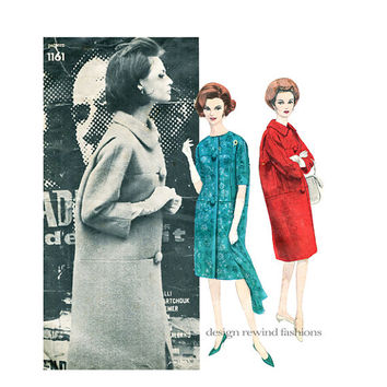 VOGUE 1161 COAT PATTERN Guy Laroche Straight Coat Optional Collar 3/4 Sleeves Vogue Paris Original 1960s Womens Sewing Patterns Bust 32