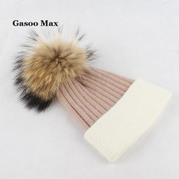 2017 Women Real Fur Pom Pom Hat Female Winter Wool Knitted Beanies Fur Ball Cap Ladies Cashmere Natural Raccoon Fur Pompom Hat